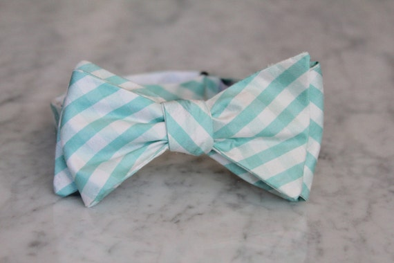 Soft Turquoise Silk Plaid Bow Tie for Men - Clip on, pre-tied with strap or self tying