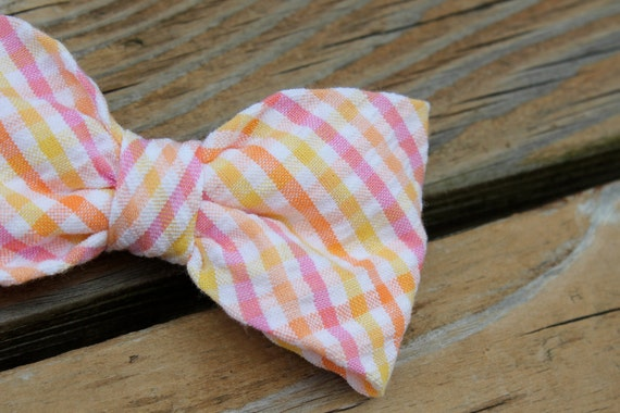 Citrus Plaid Seersucker Bow Tie for Men - clip on