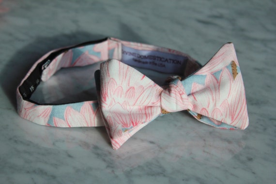 Bow Tie in Pink and Gray  Blossoms- Groomsmen and wedding tie - clip on, pre-tied with strap or self tying