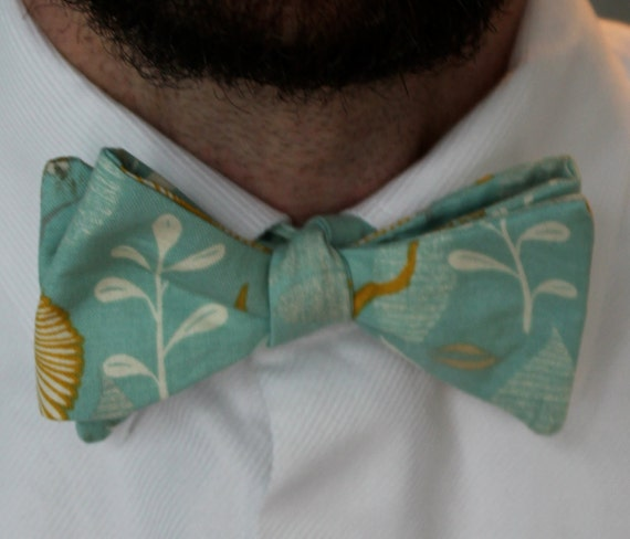 Men's Bow Tie in Teal and Gold Floral - self tying - freestyle bow tie