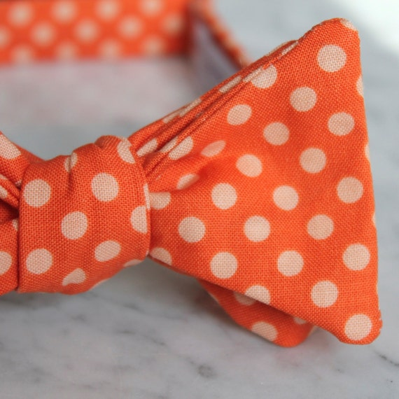 Bright Orange and Peach Polka Dot Bow Tie - Groomsmen and wedding tie - clip on, pre-tied with strap or self tying