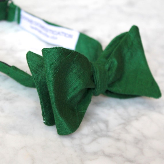 Dark Forest Green Silk Bow Tie for men or boys - clip on, pre-tied with strap or self tying - wedding ring bearer