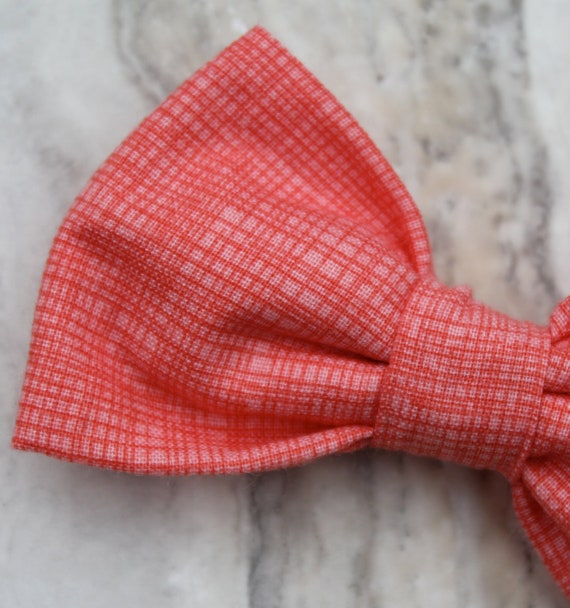 Bow tie in Coral Pink Crosshatch - Clip on, pre-tied with strap or self tying