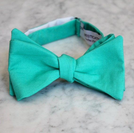 Mens Bow Tie in Solid Dark Turquoise-  clip on, pre-tied with strap or self tying