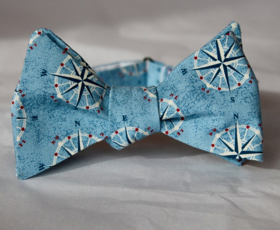 Compass Bowtie in Blue  - Groomsmen and wedding tie - clip on, pre-tied with strap or self tying