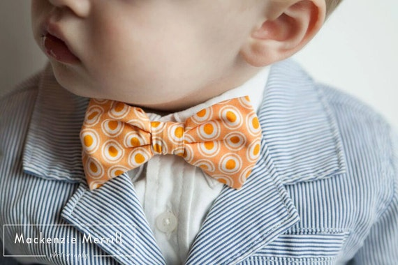 Boys Bow tie in Orange Oval Elements - clip on - ring bearer wedding attire