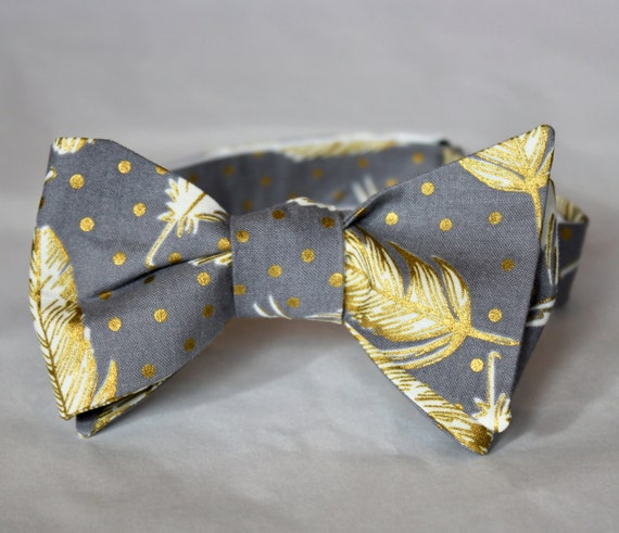 Bowtie in Gold Gray Wedding Feathers - Groomsmen and wedding tie - clip on, pre-tied with strap or self tying