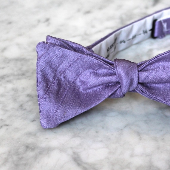 Lavender Purple Silk Bow Tie - clip on, pre-tied with strap or self tying - freestyle - wedding accessory and ring bearer outfit