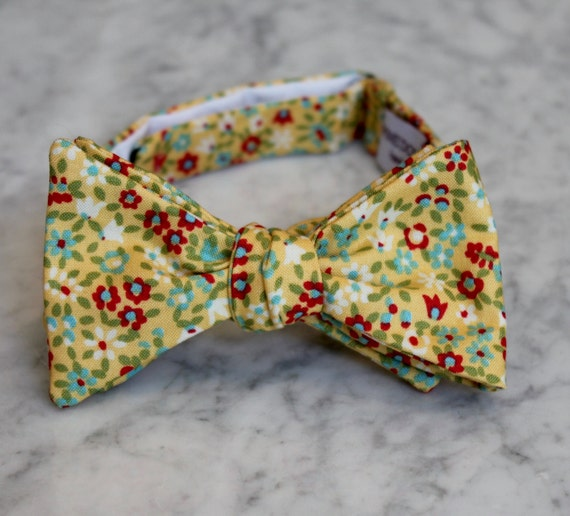 Bow Tie in Yellow, Red and Blue Tint Floral - for men or boys - clip on, pre-tied with strap or self tying