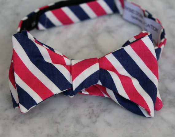 Bow Tie in Navy and Dark Pink Stripes- Self tying, pre-tied adjustable strap or clip on - Groomsmen attire