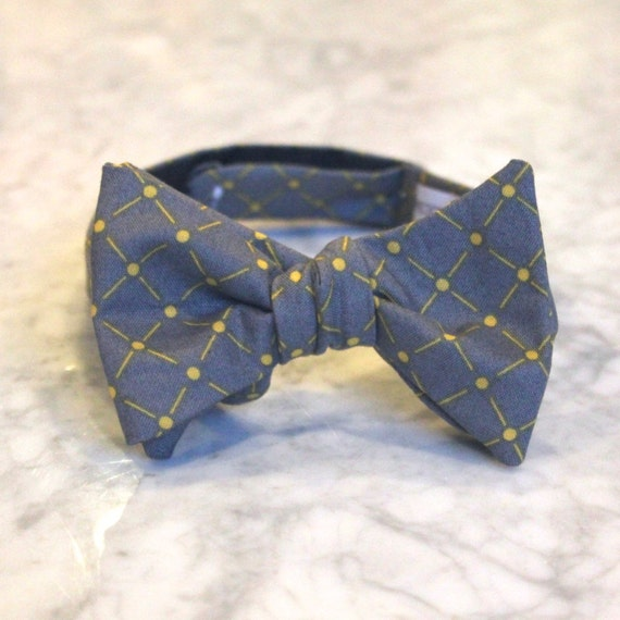 Bow Tie in Charcoal Gray and Yellow Diamond Dots - Groomsmen and wedding tie - clip on, pre-tied with strap or self tying