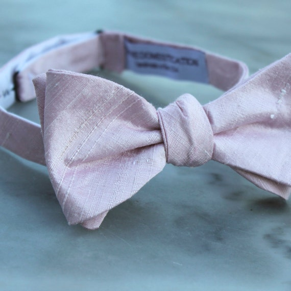Bow Tie in Blush Silk - self tying, pre-tied adjustable or clip on - for men or boys