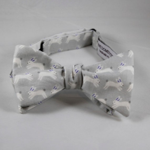 Gray Bunny Rabbits Bow tie in gray - clip on, pre-tied with strap or self tying freestyle - wedding, easter, ring bearer