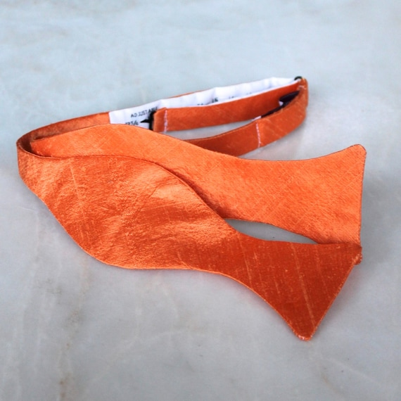Poison Orange Silk Bow Tie for men or boys - Groomsmen and wedding tie - clip on, pre-tied with strap or self tying