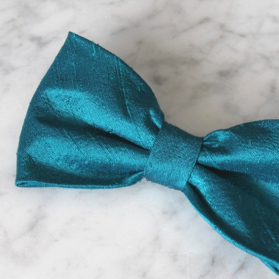 Solid Teal Silk Bow Tie - Groomsmen and wedding tie - clip on, pre-tied with strap or self tying