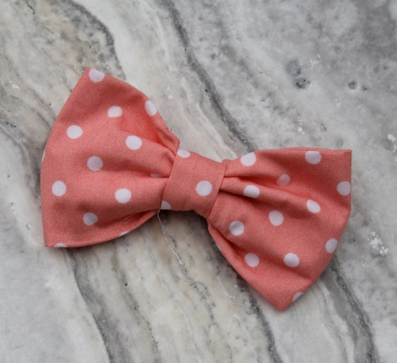 Men's Pink Coral Polka Dot Bow tie - clip on, pre-tied adjustable strap or self tying - freestyle - ring bearer outfit wedding ties