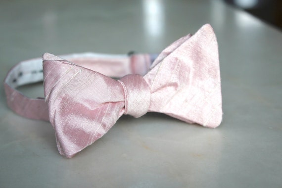 Solid Shell Pink Bow Tie - Groomsmen and wedding tie - clip on, pre-tied with strap or self tying