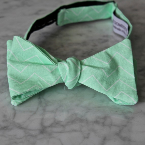 Bow Tie in Light Mint Chevron - clip on, pre-tied with strap or self tying