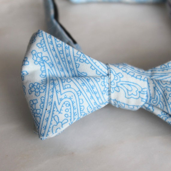 Bow Tie in Blue Posh Paisley- clip on, pre-tied with strap or self tying
