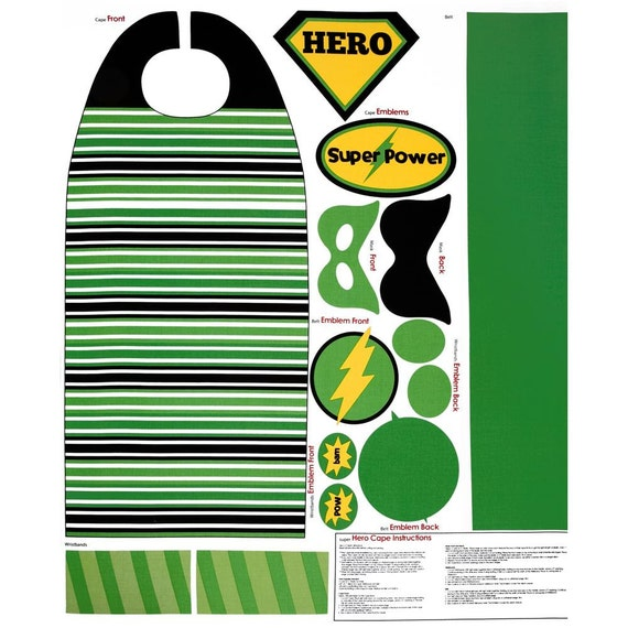Green and Black Super Hero Cape and Mask Fabric - Riley Blake - 1 pannel