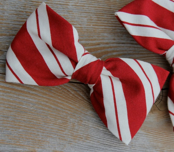 Men's Red and Cream Christmas Bow tie - Clip on, pre-tied adjustable strap or self tying/ freestyle