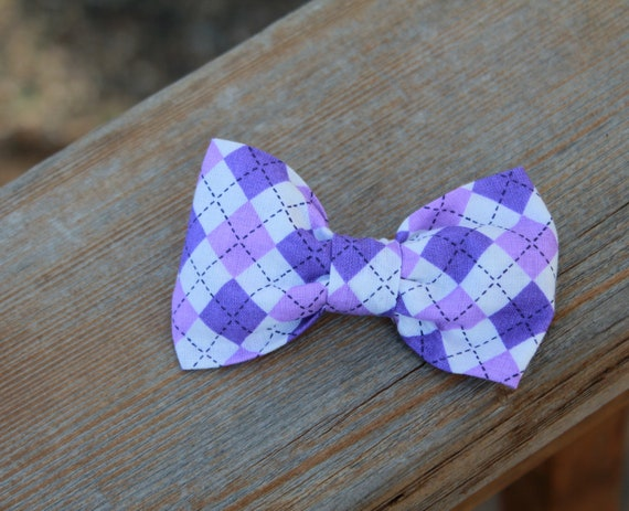 Purple Argyle  Bow Tie - clip on, pre-tied with strap or self tying