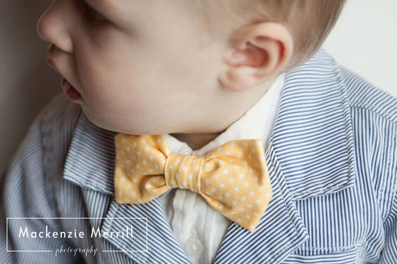 Soft Yellow Polka Dot Bow tie for men or boys - clip on, pre-tied with strap or self tying - wedding ties