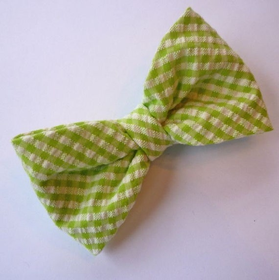 Green Seersucker Bow Tie - For Men or Boys,  clip on, pre-tied with strap or self tying - freestyle
