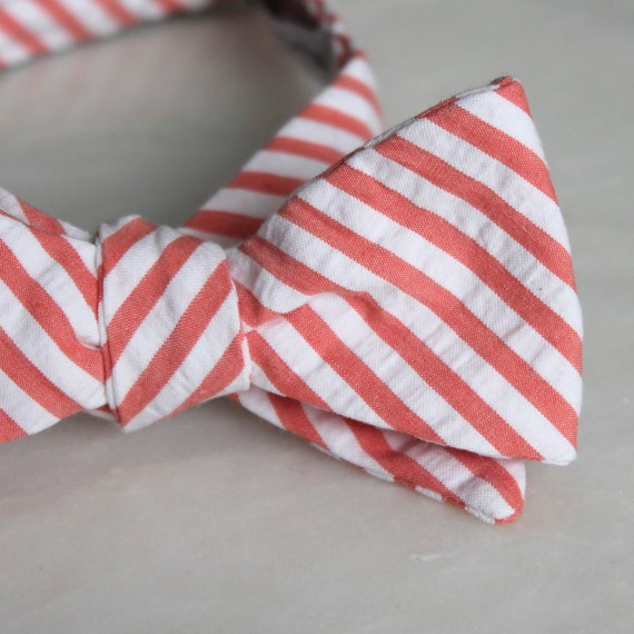 Men or Boys Coral Seersucker Bow Tie- Groomsmen and wedding tie - clip on, pre-tied with strap or self tying