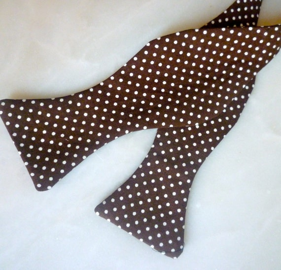Chocolate Brown Polka Dot Tie - Self tying, pre-tied with strap or clip on bow tie