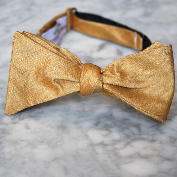 Solid Gold Silk Bow Tie for men or boys - Groomsmen and wedding tie - clip on, pre-tied with strap or self tying - wedding rig bearer