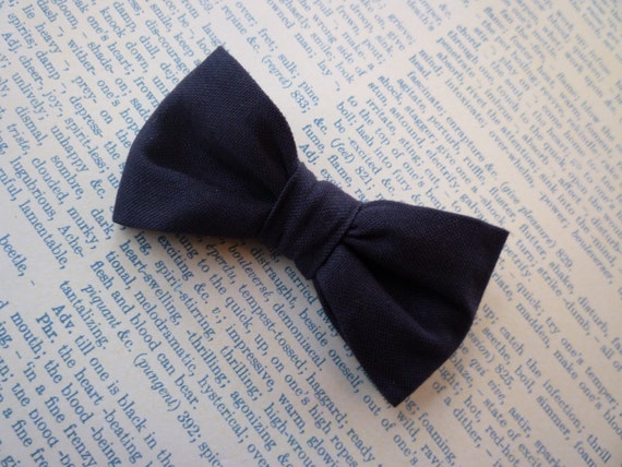 Solid Navy Blue Bow Tie and suspenders for boys - clip on