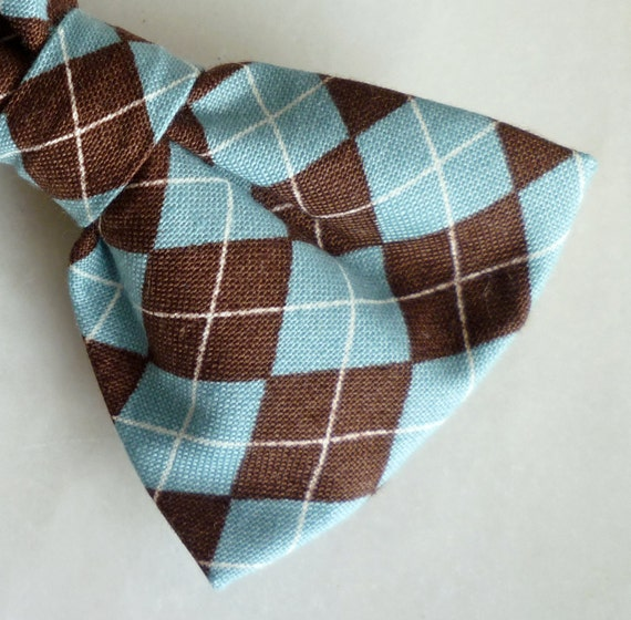 Teal and Chocolate Brown Argyle Plaid Bow tie - clip on, pre-tied with strap or self tying