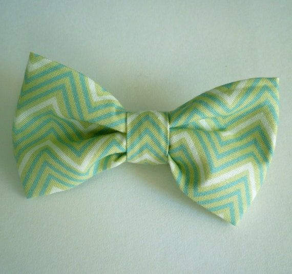 Sage Green Chevron bow tie - clip on, pre-tied adjustable strap, or self tying