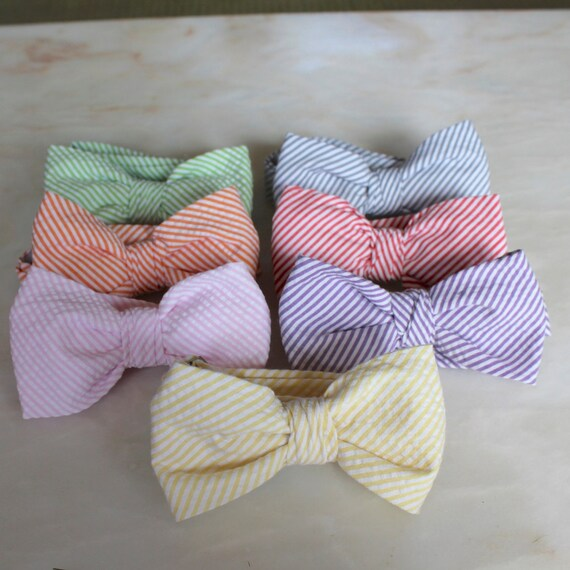 Seersucker Bow Ties - clip on, pre-tied adjustable strap or self tying - Choose your color, purple, green, blue, pink, orange, yellow, coral
