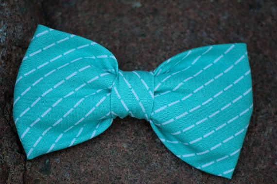 Mens Bow Tie in Turquoise Stitch - Clip on, pre-tied with strap or self tying