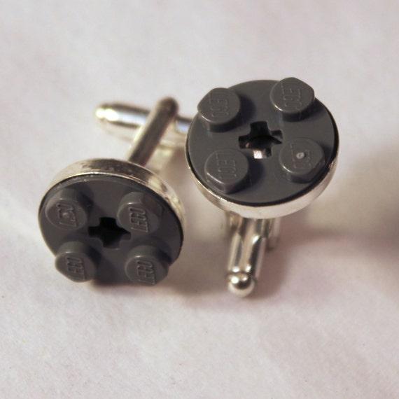 Dark Gray Round Lego Cuff Links - Silver plated - Groomsmen gift, wedding accessories