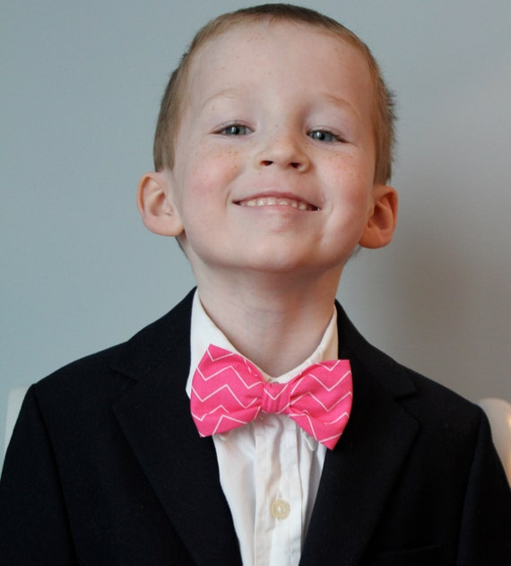 Bow Tie in thin Pink Chevron - Clip on, pre-tied with strap or self ting - ring bearer attire