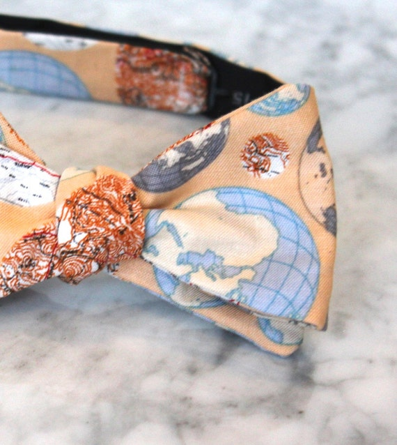 Global Perspective Bow Tie  - Groomsmen and wedding tie - clip on, pre-tied with strap or self tying