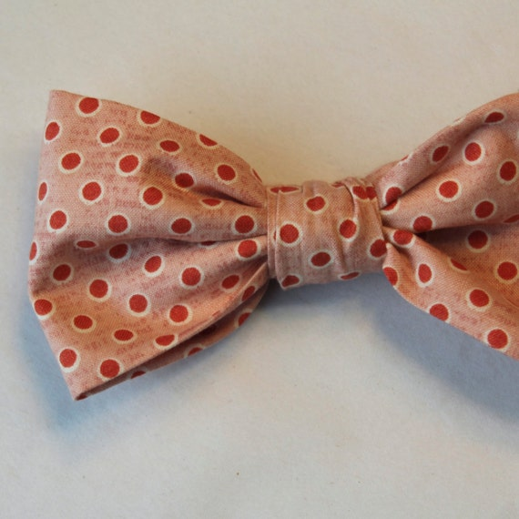 Mens Bow Tie in Pink Coral wiht Dark Coral Vintage Inspired Dots - Groomsmen and wedding tie - clip on, pre-tied with strap or self tying