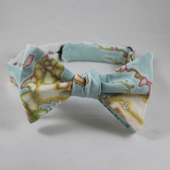 Bright Blue Global Map Bow Tie  - Groomsmen and wedding tie - clip on, pre-tied with strap or self tying