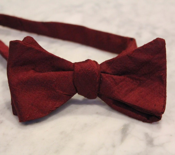 Red Burgundy Silk Bow Tie - Groomsmen and wedding tie - clip on, pre-tied with strap or self tying