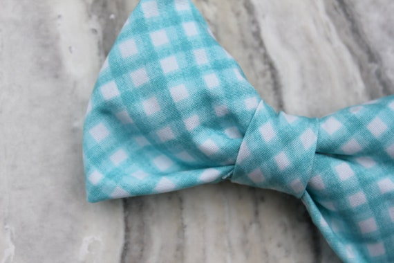 Boy's Organic Turquoise Gingham Bow Tie - clip on