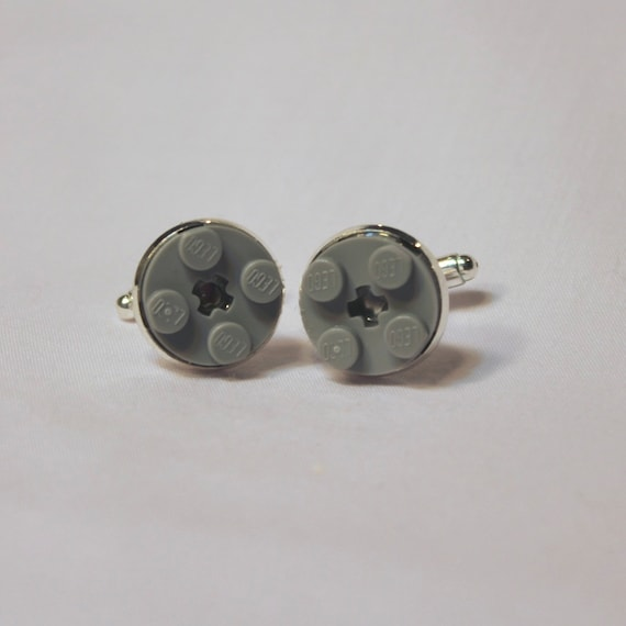 Light Gray Round Lego Cuff Links - Silver plated