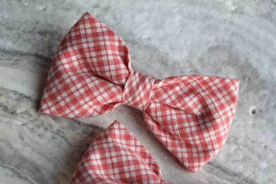 Bow tie for Men or Boys in Coral Double Gingham - Clip on, pre-tied with strap or Self tying
