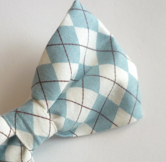 Bow tie - Teal Argyle Plaid - clip on, pre-tied with adjustable strap or self tying - for men or boys, ring bearer outfit, wedding accessory