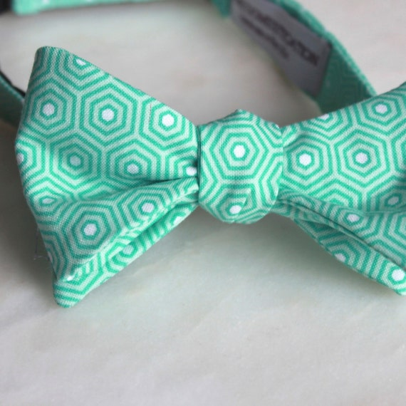 Mint Hexagon Bow Tie - Groomsmen and wedding tie - clip on, pre-tied with strap or self tying