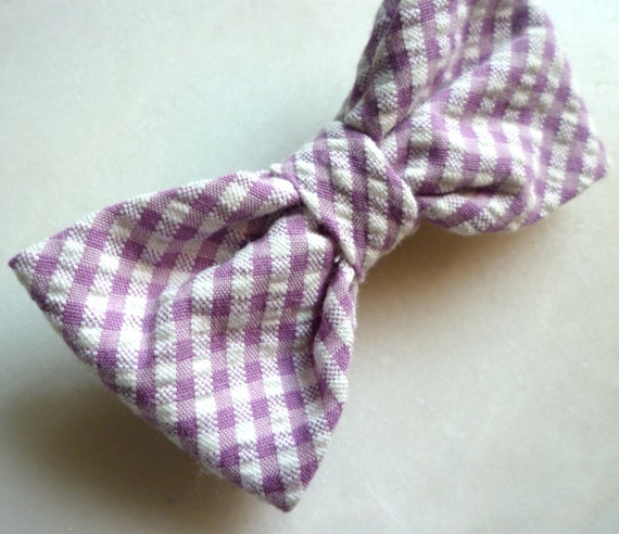 Purple Seersucker Bow Tie - for men, women and children - clip on, pre-tied with strap or self tying