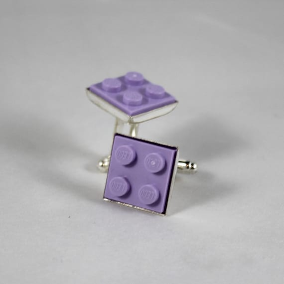 Light Purple Square Lego Plate Cufflinks - Silver plated - Valentine's Day Gift - Groomsmen Gift, Wedding accessory