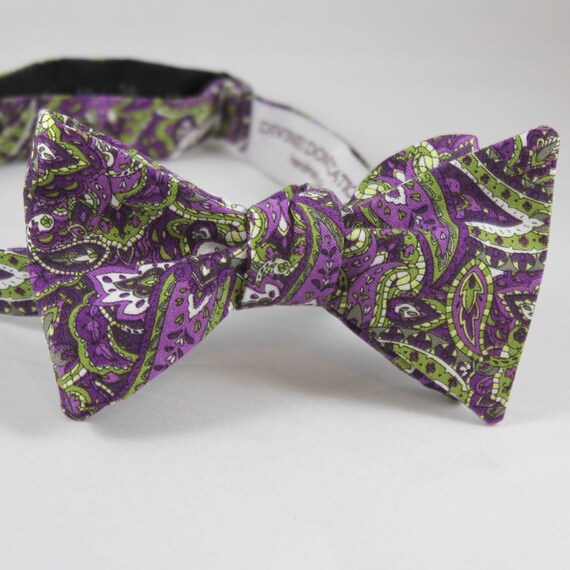 Purple and Green Paisley Bow Tie - Groomsmen and wedding tie - clip on, pre-tied with strap or self tying
